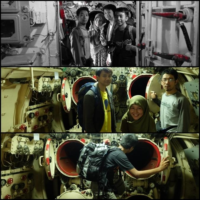 narsis time di dalam Kapal Selam Pasopati >.< (dari atas kiri ke bawah kanan: Dian, Nia, Tebe, wafi, Tebe lagi, Nia lagi, Wafi lagi, dan finally sang fotografer Fian :D )